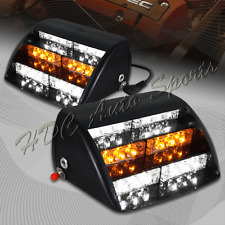 18 LED White & Amber Emergency Hazard Warning Windshield Dashboard Strobe Lights