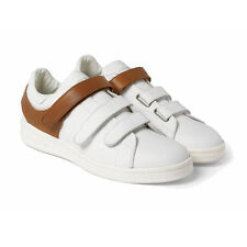 Alexander McQueen White Caramel Brown Leather Low-Top Harness Sneakers IT43 UK9
