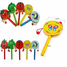 Cartoon Animal Hand Bell Wooden Rattle Drum  Musical Instrument Toys For Baby