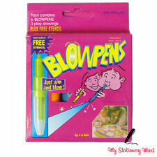 6 x Kids Blowpens Fun Washable Non Toxic Pens Stationery For Kids! Air Spray