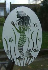 MERMAID Etched Glass Window Decoration / Window Film / Static Cling 38x58cm