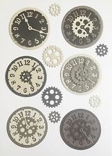 New - Steampunk Clock Die Cuts - Black/silver/grey (pack Of 6)