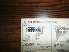 1968 Cadillac EIGHT Series All Models 472 CI V8 4BBL Tune Up Chart