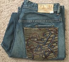 Ecko Unltd 34 30 34/30 Men's Baggy Fit Denim Jeans Embroidered Distressed Loose