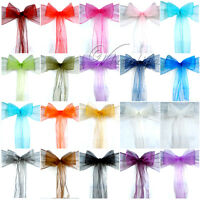 100 Sheer Organza Chair Sashes Bows Banquet Wedding Party Xmas Decoration Supply