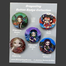 *DRAGONLINGS* Fairy & Baby Dragon Button Badge Set By Jasmine Becket-Griffith