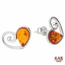 COGNAC NATURAL BALTIC AMBER STERLING SILVER 925 JEWELLERY EARRINGS, KAB-22