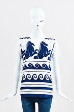 Vionnet Cream Blue Horse Motif T-Shirt Top