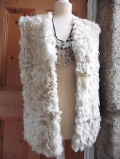 Vintage Real Curly Lamb Gilet Cream Reversible Green Suede Waistcoat Shearling