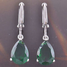 New 9K White Gold Filled Emerald Green CZ Pear Shaped Tear Drop Dangle Earrings