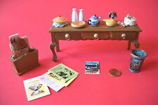 DOLL HOUSE MINIATURE TABLE MAGAZINES PAPERS CAKE TRASH CAN MADE OF COPPER
