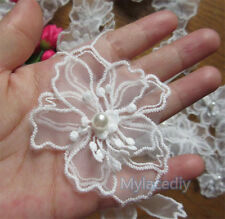 10pcs Vintage Flower Pearl Lace Edge Trim Wedding Ribbon Applique Sewing Craft