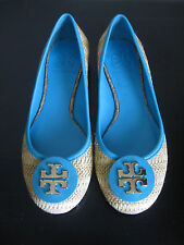 NEW IN BOX AUTHENTIC TORY BURCH REVA RAFFIA STRAW BALLET FLATS SHOES SIZE 8.5