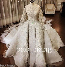 Luxury Crystals Beads Wedding Dress White Ivory Bridal Gowns With Long Cape 2017