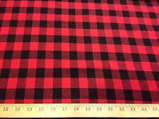 "Black/Red Buffalo Plaid Cotton Flannel Fabric 58"" Wide By The Yard"