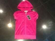 NWT Juicy Couture New & Genuine Ladies Small Pink Velour Hoody With Gold Logo