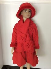 DANI red Quilted Jacket Coat With Matching Hat & Scarf Age 3 Years Girls Winter