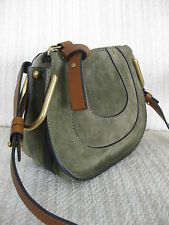 Chloe AUTH Hayley Nano Crossbody Brown Leather Eucalyptus Suede Horseshoe