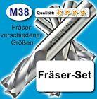 Fräser-Set 3+4+5+6mm für Metall Kunststoff Holz etc. M38 vergl. HSSE HSS-E Z=2