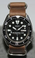 SEIKO Vintage 6309-7290 Scubapro 450 Classic Diver Watch Automatic Leather Strap