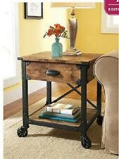 Rustic End Tables Industrial Black Metal Pine Side Bedside Storage Drawer Wood