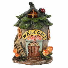 Miniature Fairy Garden Welcome House with LED Resin Door Home & Garden Ornament