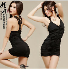Fashion sexy black dress sexy nightclub dress sexy lingerie + T pants Size AK62