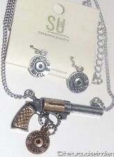 Western Cowgirl Hunter Pistol Shotgun Shell NECKLACE AND EARRING SET..2 Cute