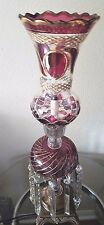 "Antique/Vintage Red Cranberry Lamp with Prisms 26 1/2"" Tall Estate"