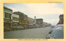Broadway Looking South in Rochester MN Postcard