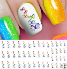 Rainbow Butterfly Stack Nail Art Waterslide Decals - Salon Quality!