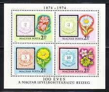 Hungary 1974 MNH Sc 2281a-d Centenary Magyar Posta Stamps on stamps Flowers