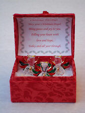 3-Angel CHRISTMAS Blessing Box@Glass@Card Verse@UNIQUE FESTIVE keepsake Gift@RED