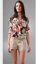 Authentic See By Chloe Multicolor Safari Silk Blouse, Long Sleeves, Pockets