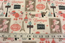 Paris Pooch Cafe Poodle & Dachshund Dogs Cotton Flannel Fabric BTY