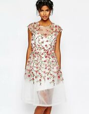 Body Frock Wedding Embroidered Rose Skater Evening Dress UK 12/EU 40/US 8