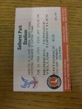 26/02/1991 Ticket: Football League [Zenith Data Systems] Area Semi-Final, Crysta