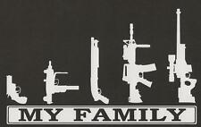 My Family Gun Rifle AR Pistol Funny Stick People Sticker Car Laptop Bumper Decal