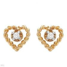 10K SOLID YELLOW GOLD 0.03 CTW DIAMOND HEART GIRLS STUDS