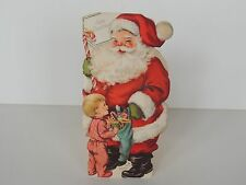 "Vintage Christmas greeting Card Santa flocked fuzzy stand up 9"" boy toys candy"
