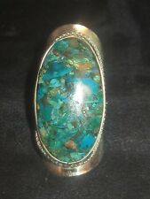 LARGE ALPACA SILVER INLAY CHRYSOCOLLA BLUE TURQUOISE ADJUSTABLE RING SIZES 5-12