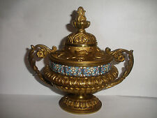 ANTIQUE FRENCH 19th CHAMPLEVE BRONZE GARNITURE DESK TABLE PIECE