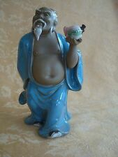 """Vintage Clay Artistic Chinese Figurine ~ The God of Longevity 7 1/2"""" Tall"""