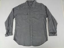 GUESS JEANS - LONG SLEEVE BUTTON DOWN - PEARL BUTTONS - GRAY XL SHIRT C863