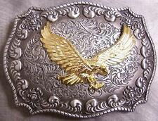 Pewter Belt Buckle animal bird Eagle in Flight 2 toned NEW