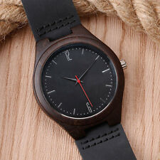 Latest Mens Wooden Watch Black Genuine Leather Band Natural Wood Wristwatch Xmas