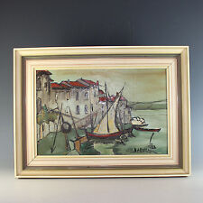 Oil on Board Painting of a Seaside Village in Southern France