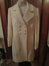 Juicy Couture White Wool Lined Corduroy Long Top Coat Jacket EUC Size Lg Dressy