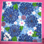 """FORD WARRIORS LILLY PULITZER BLUE FLORAL CANCER SCARF 2004 21""""SQUARE NEW/WOT"""