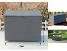 RATTAN CORNER STORAGE CHEST TRUNK BOX SOFA GARDEN FURNITURE PATIO DECKING STEEL